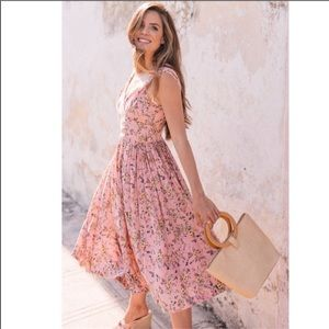 Gal Meets Glam Sarah Pink Floral Pleated Sundress